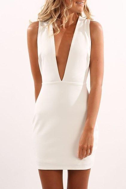 Deep V Neck White Homecoming Dress S1365 #graduationdresscollege