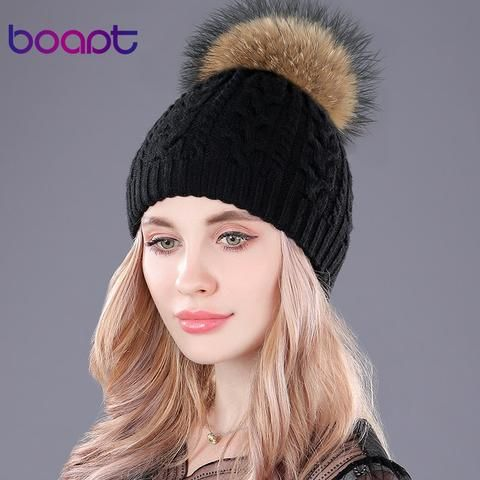 5b33127d8c4 ... natural raccoon fur pom pom beanie girls hat.  boapt  cashmere  double-deck knited caps twist soft thick hats for women s winter