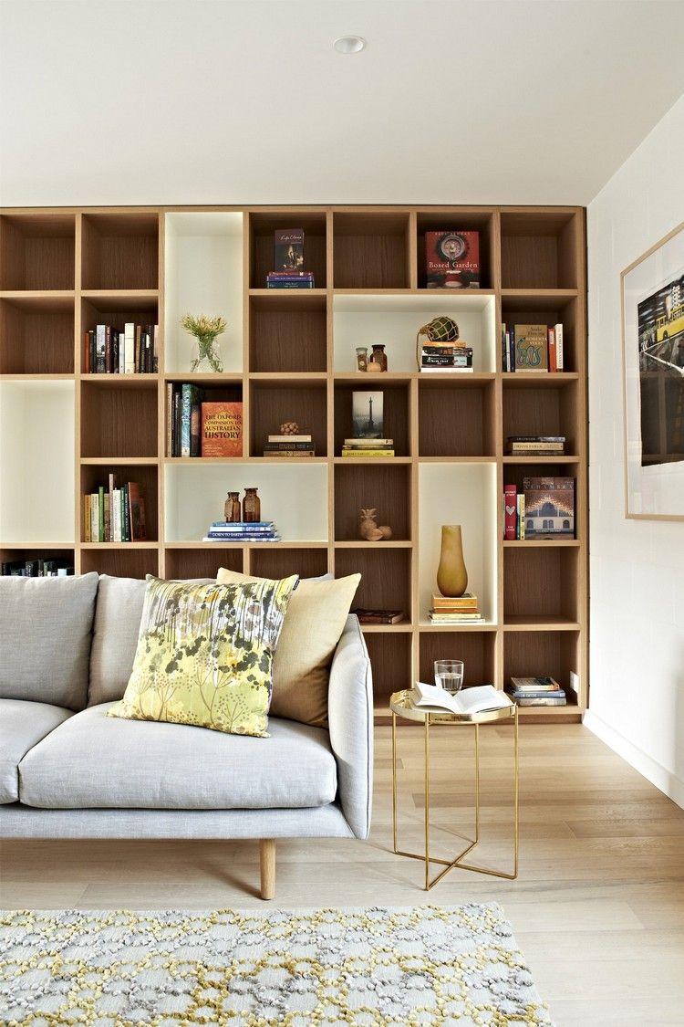 großes regal hinter sofa farben design  Wohnzimmer design