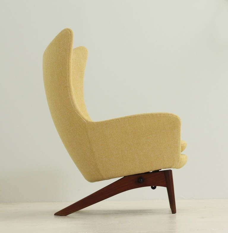 Danish Reclining Wing Chair By H. W. Klein