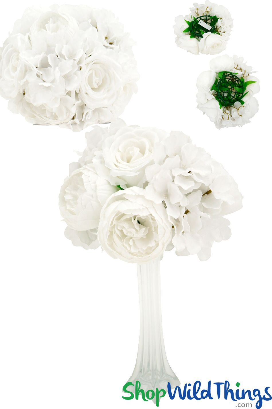 Flower Ball 10 2 In 1 Premium Silk Roses Peonies Hydrangeas