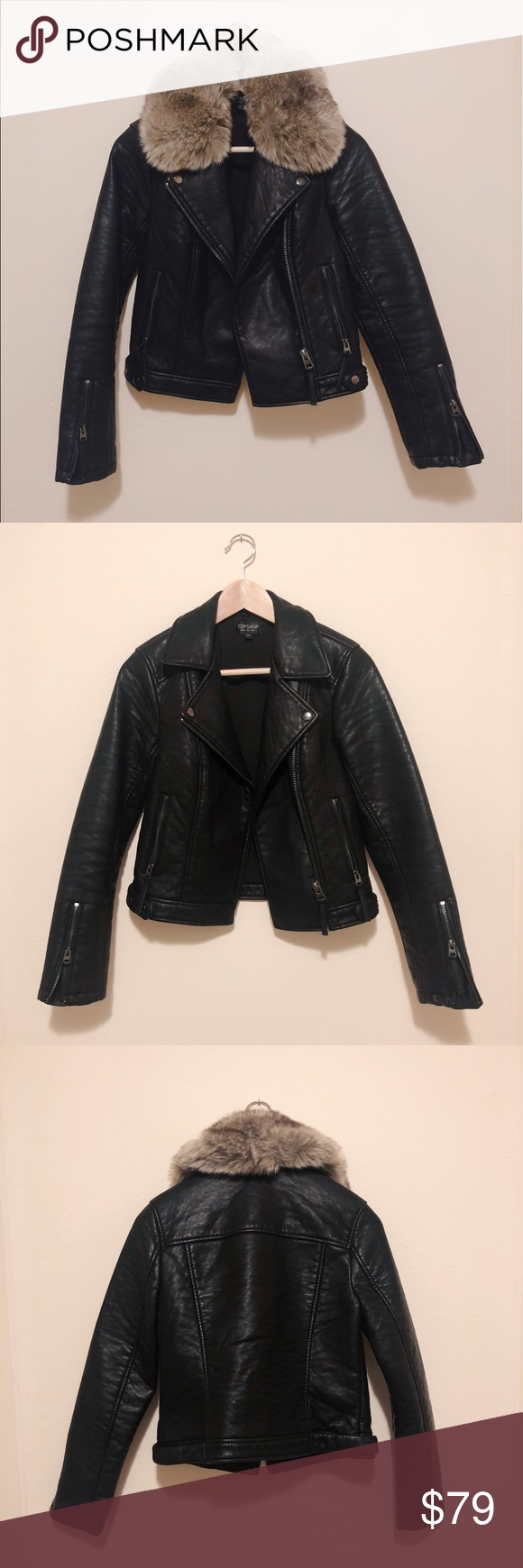 Leather Jacket with Removable Fur Collar Leather