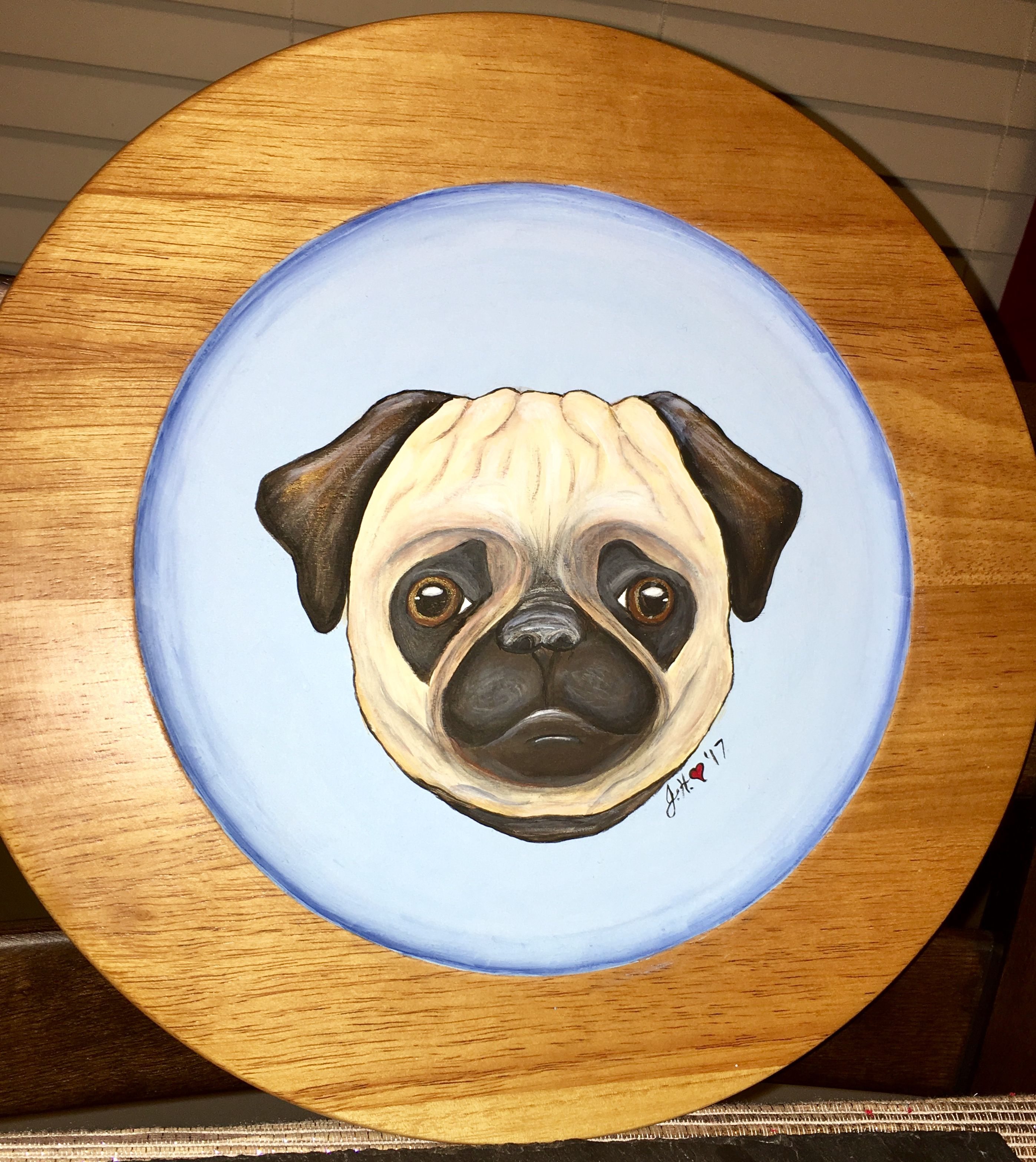 Hand Painted Acrylic Paint Pug Plate Crafts And Paintingmy