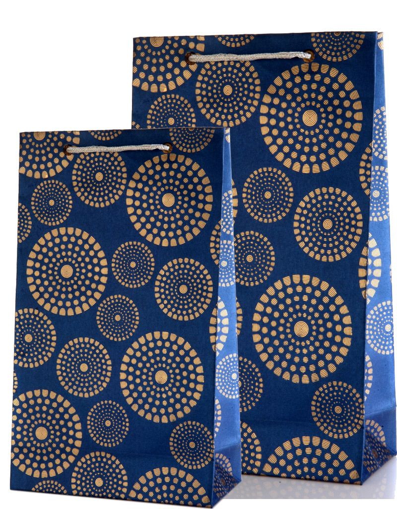 Royal Blue Gift Bags Combo with Golden Circles Design | Golden ...
