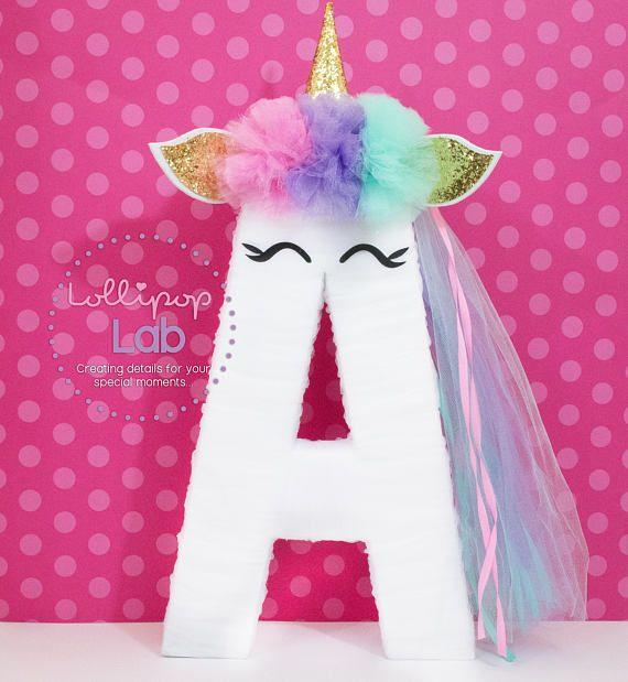 Unicorn letter decoration unicorn birthday unicorn for Decoracion para pared de unicornio