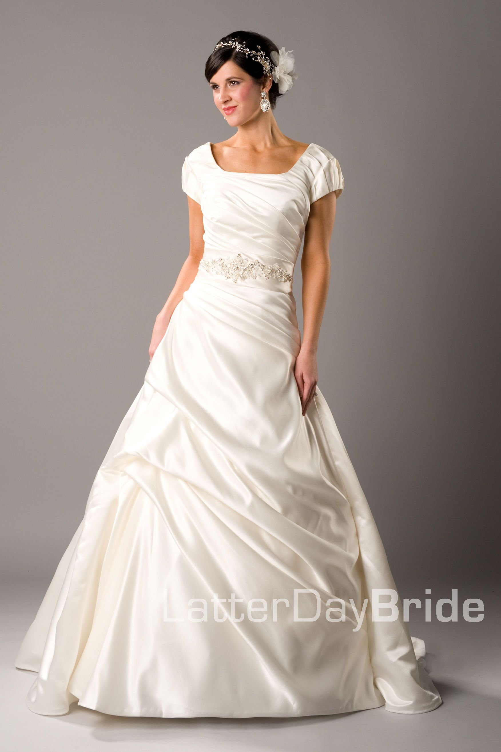Latter Day Bride. This website has lots of dresses that are modest. Not just wedding dresses either. Bridesmaids, Mother of the Bride, prom, etc.