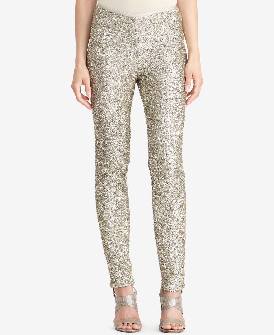 dc93b411aa40 Embellished with glimmering sequins, these skinny pants from Lauren Ralph  Lauren are a statement piece for the holiday party circuit.