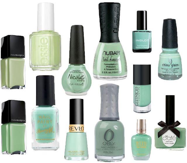 Mint nail polish. where\'s OPI mermaid tears and Skin food green mint ...