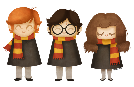 Image result for harry ron hermione cartoons