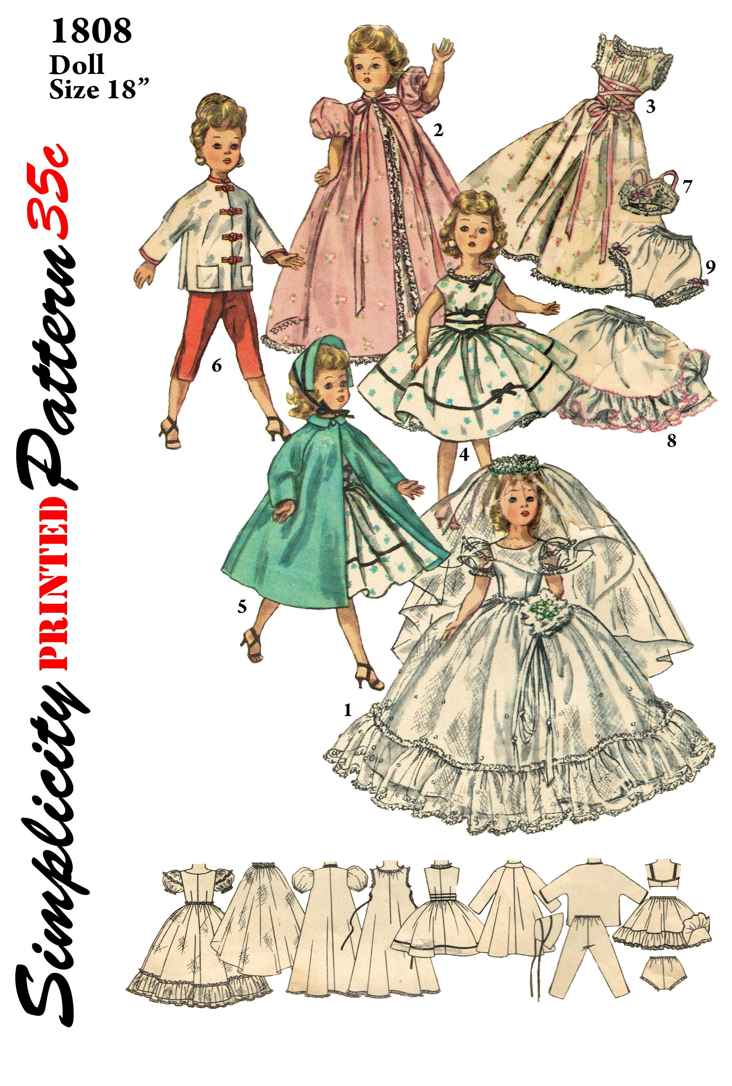 Simplicity 1808 - reproduced pattern for 18 inch dolls such as miss ...