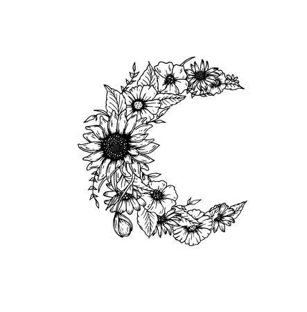 Photo of Crescent moon decorated with flowers on white background