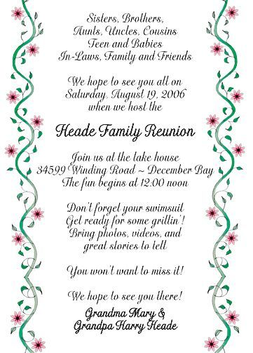 Family Reunion Invitation, Style Fr
