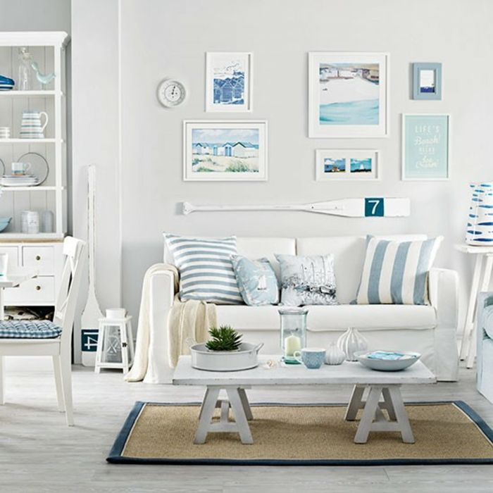 maritime deko krake blau wohnzimmer sofa | Einrichtungsideen ...