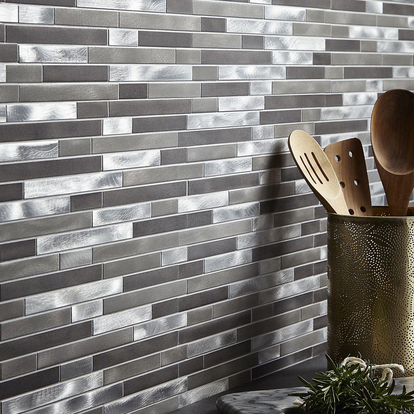 Naplo Grey Aluminium Mosaic Tile L 300mm W 300mm In 2020