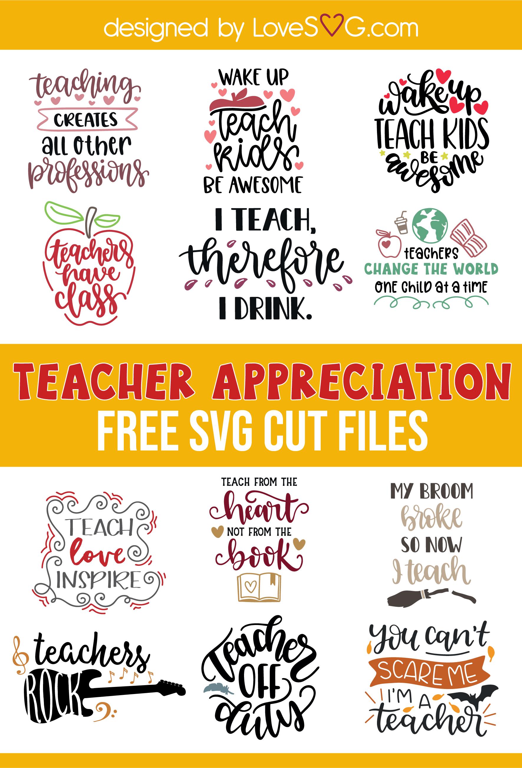 Free Teacher Appreciation SVG Cut Files
