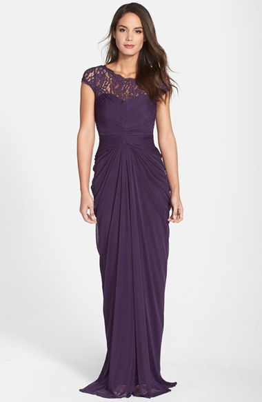 This Would Be Beautiful For Mom Or Diane Adrianna Papell Lace Yoke Drape Gown Regular