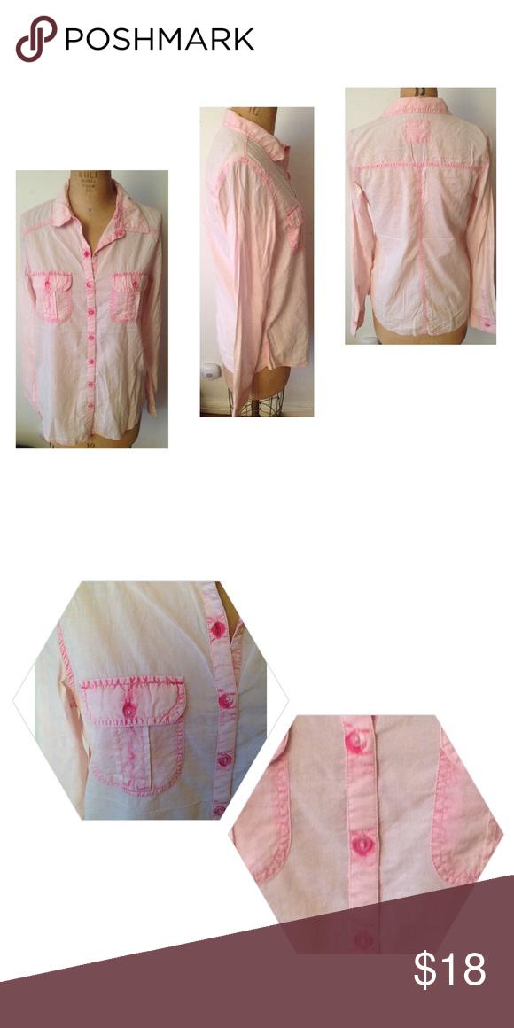 Boyfriend Shirt Brand New pink acid wash look, super soft fabrication boyfriend button front shirt. 55% Cotton 45% Rayon. NWOT girl krazy Tops