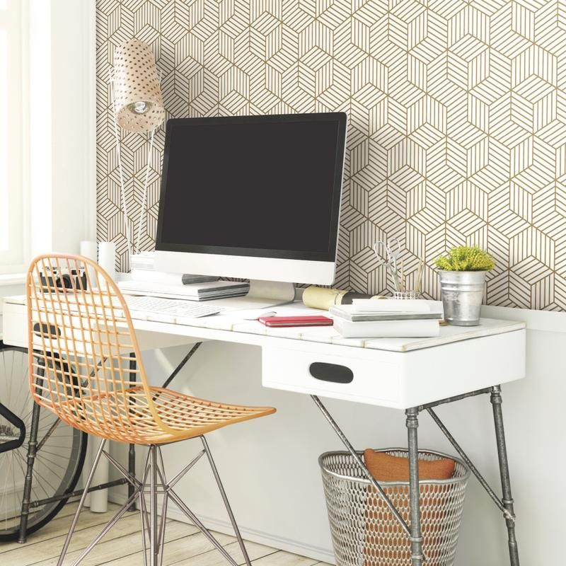 Roommates Shatter Geometric White Gold Peel Stick Wallpaper Walmart Com Peel And Stick Wallpaper Gold Wallpaper Diy Prints