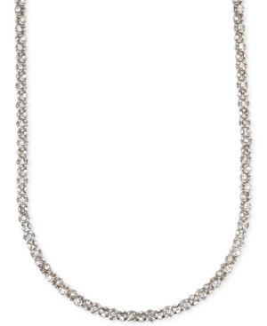 Anne Klein Silver-Tone Crystal Pave Tubular Strand Necklace - Silver