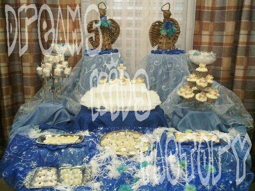 Bautizo - decoración de mesa,  torta y bocaditos