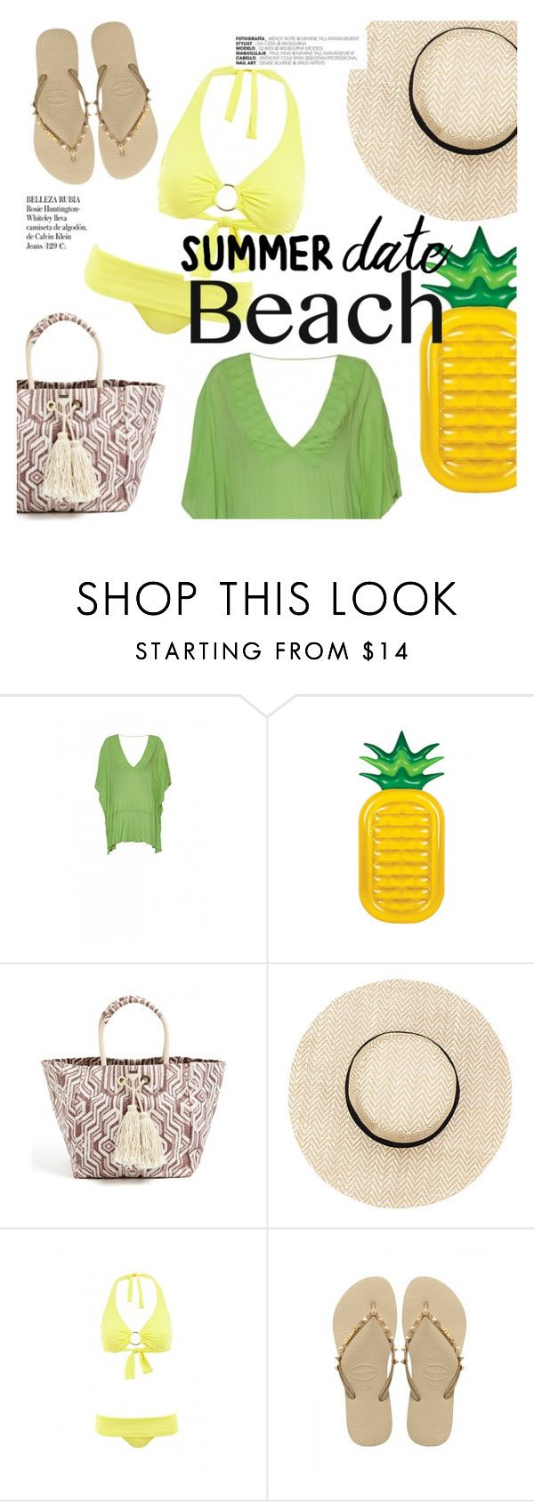 """Summer Date: The Beach"" by sanddollardubai on Polyvore featuring ViX, Melissa Odabash, Whiteley, Havaianas, beach and summerdate"