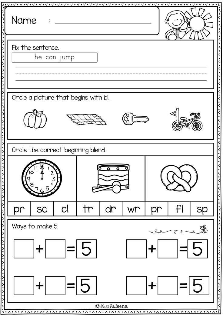 First Grade Morning Work Set 3 Elementary Learning First Grade Kindergarten Lesson Plans