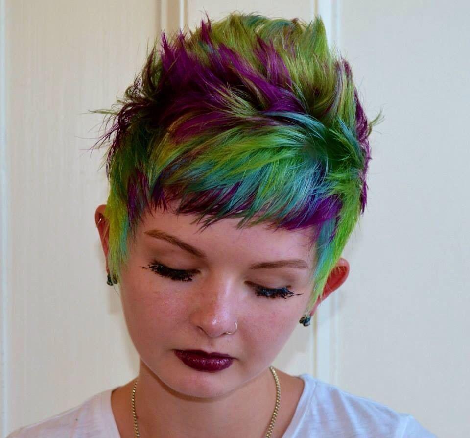 Brigh colored green purple and aqua blue hair using pravana vivids