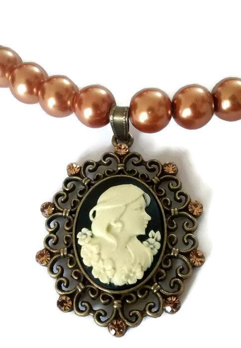 Antique cameo pendant vintage cameo choker golden by daretodaret antique cameo pendant vintage cameo choker golden by daretodaret mozeypictures Image collections