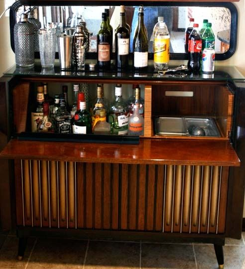 Diy Home Bar Made From A Vintage Dresser Including Liquor And Ice Bin