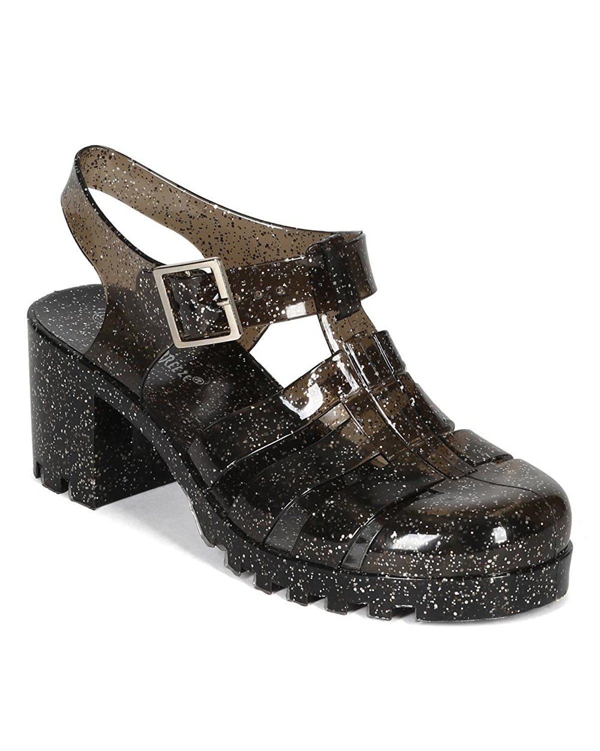 2ad9c3169fb5 Nature Breeze CK93 Women Glitter Jelly Round Toe Strappy Caged Gladiator  Chunky Heel Sandal - Black -- See this great image : Sandals