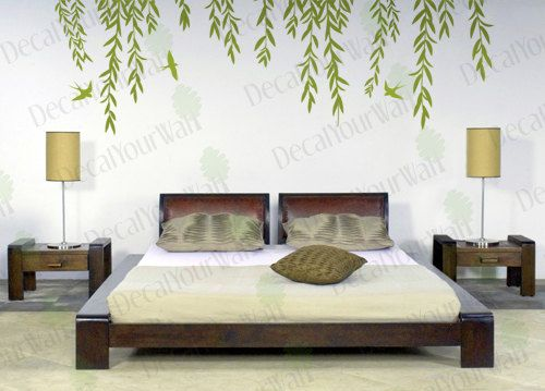 Tree Branch Wall Art large willow tree branches with birds removable wall decals vinyl