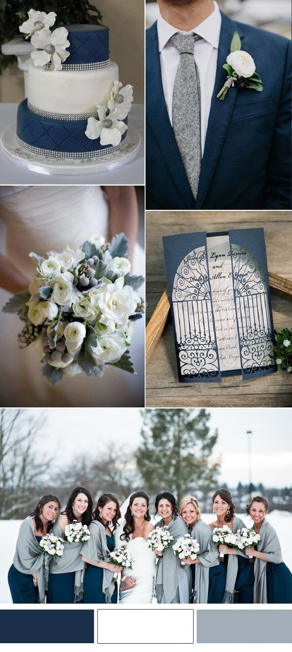 Top 10 winter wedding color combos 2016 winter weddings winter beautiful blue and gray winter wedding color ideas junglespirit Images