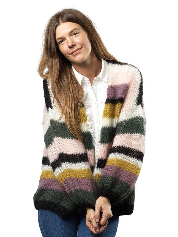 Strikkeopskrift: Stribet jakke #strikkeopskriftsweater