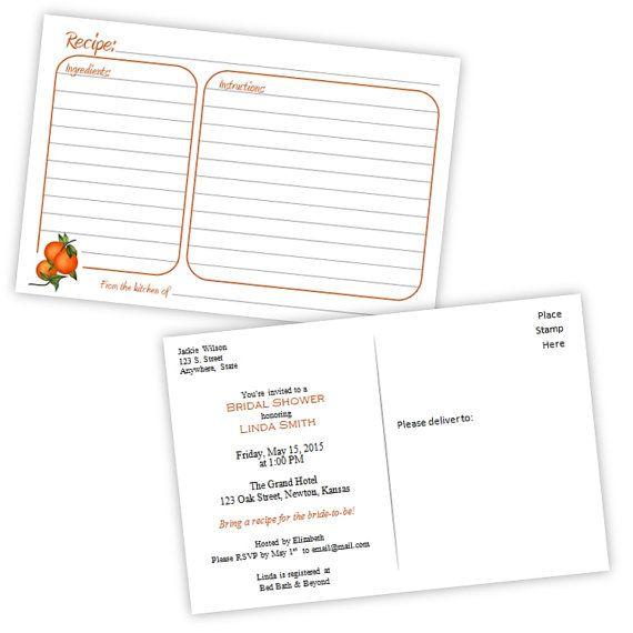 Recipe Card Bridal Shower Invitation Postcard Oranges Diy