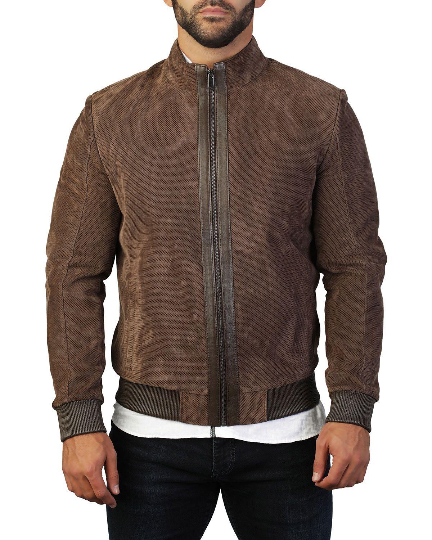 Maceoo Men S Perforated Leather Zip Front Jacket In Brown Modesens Perforated Leather Jackets Leather [ jpg ]