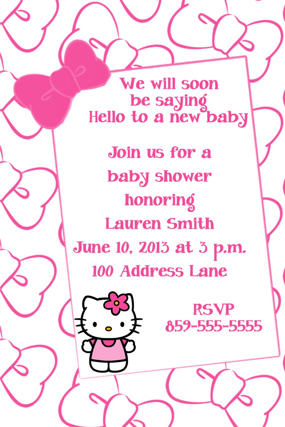 Hello Kitty Baby Shower Invitation By Lisagaledesigns On Etsy 10 00