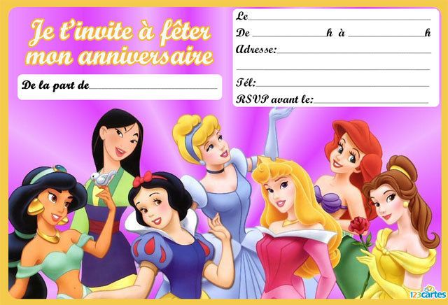 Invitation anniversaire Les 7 princesses - 123 cartes | Humour disney, Film disney, Personnage ...
