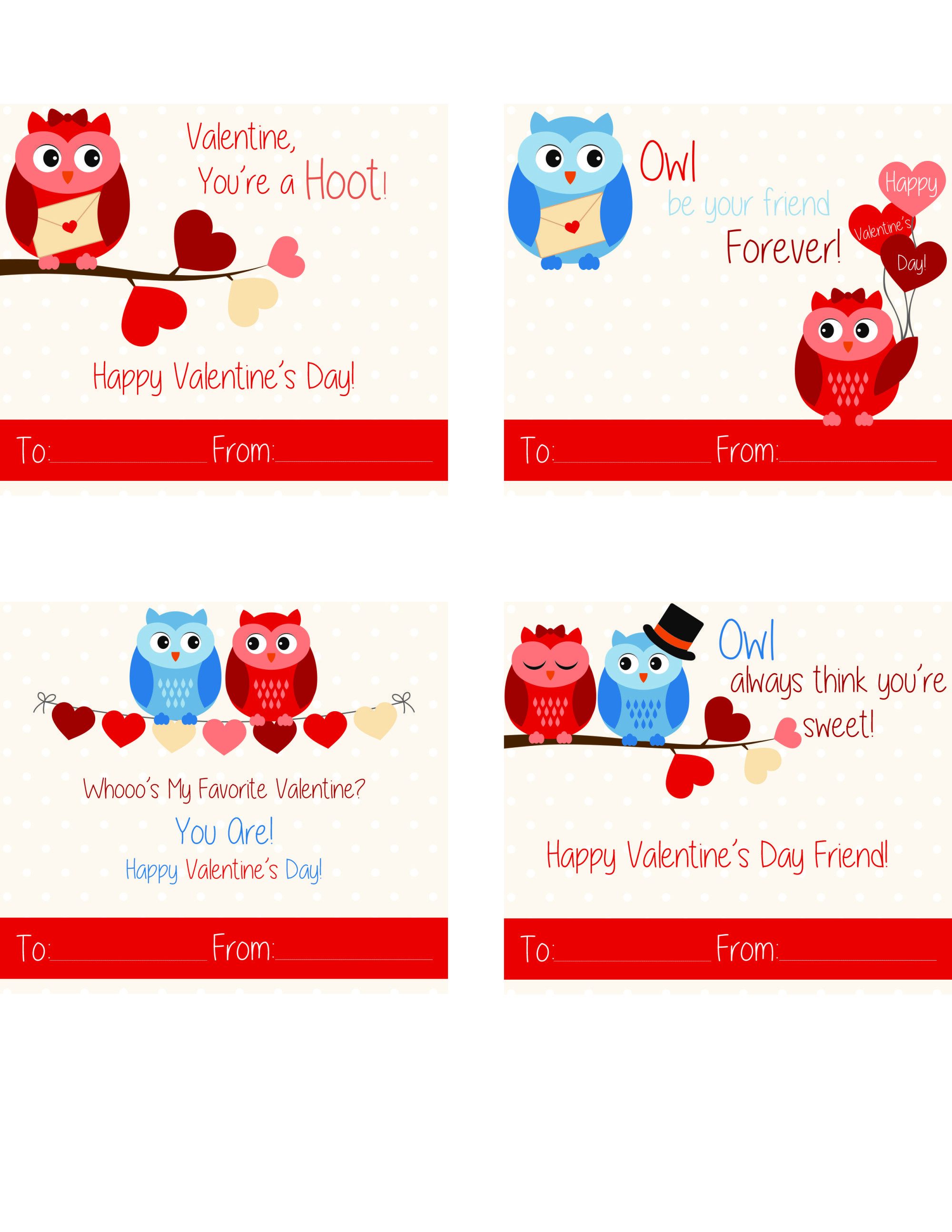 Free Printable Owl Valentine Cards | Valentine's cards for ...