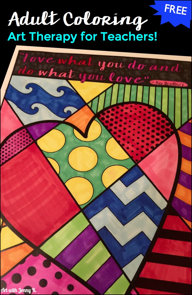 adult coloring art therapy for teachers