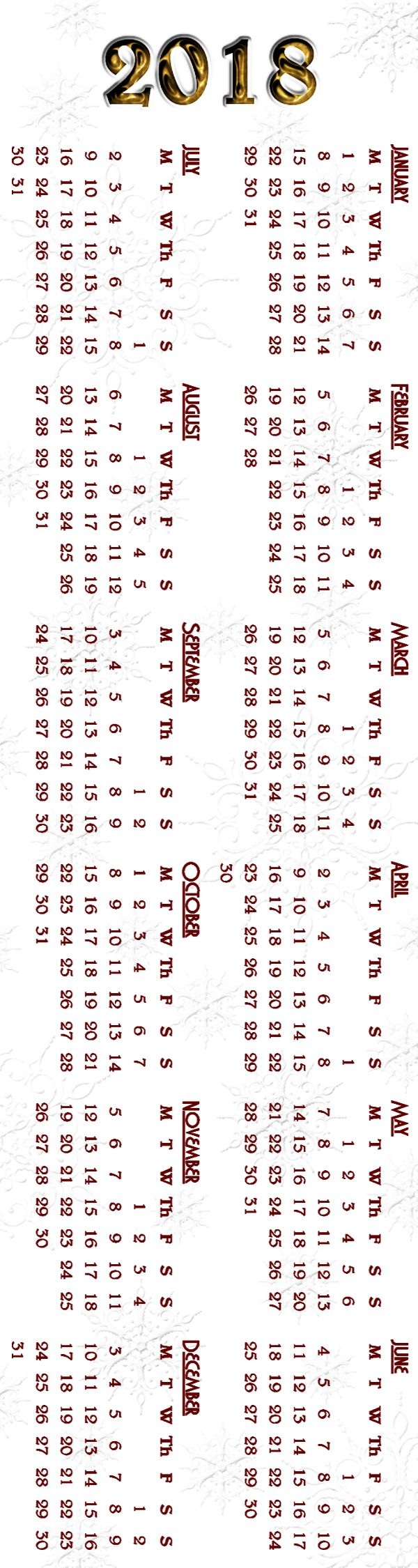 Calendar Bookmark : Bookmark calendar snowflake background