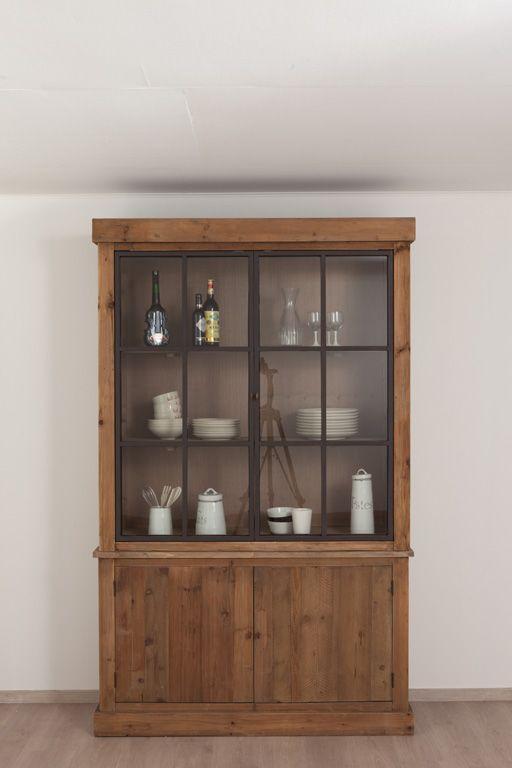 Landelijke keuken arjen vitrinekast meer modellen in onze showroom in ninove http www - Credenza voor keuken ...