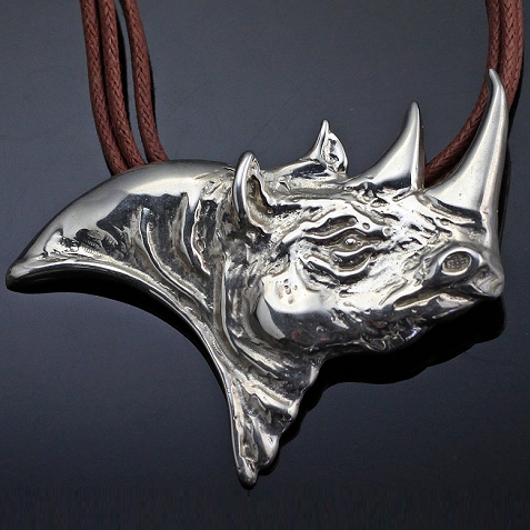#Rhino Pendant #Necklace Sterling Silver by artist Anisa Stewart. Crafted in the USA!