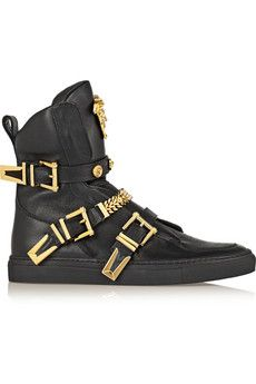 Versace Embellished leather high-top sneakers   NET-A-PORTER