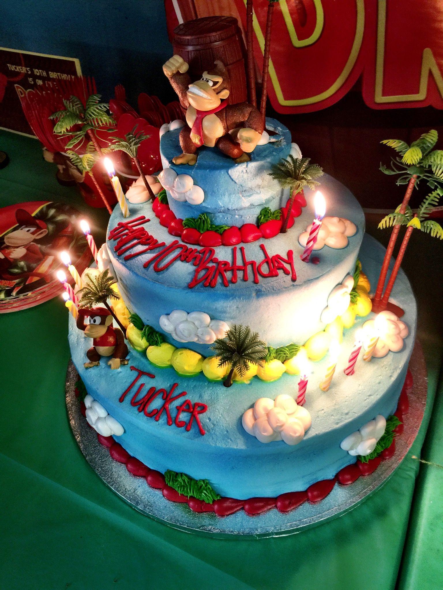 Brilliant Donkey Kong Birthday Party Cake With Images Country Birthday Funny Birthday Cards Online Amentibdeldamsfinfo