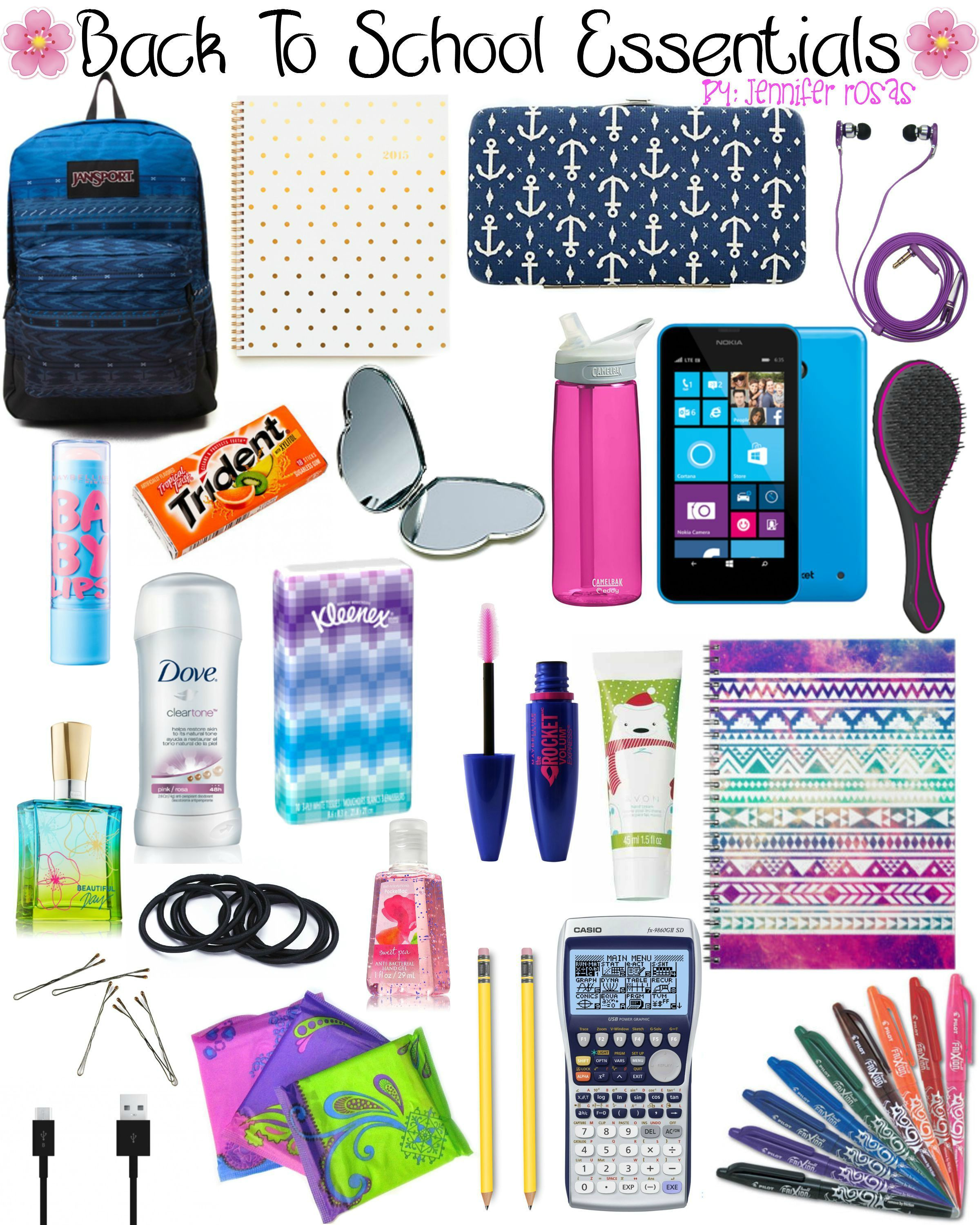 back to school essentials by jennifer rosas backpackessentials scolaire scolaire coll ge. Black Bedroom Furniture Sets. Home Design Ideas
