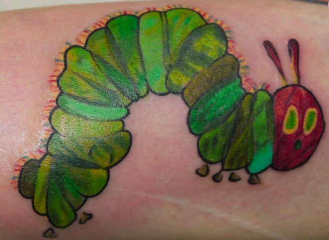 The Very Hungry Caterpillar Tattoo Caterpillar Tattoo Literary Tattoos Teacher Tattoos