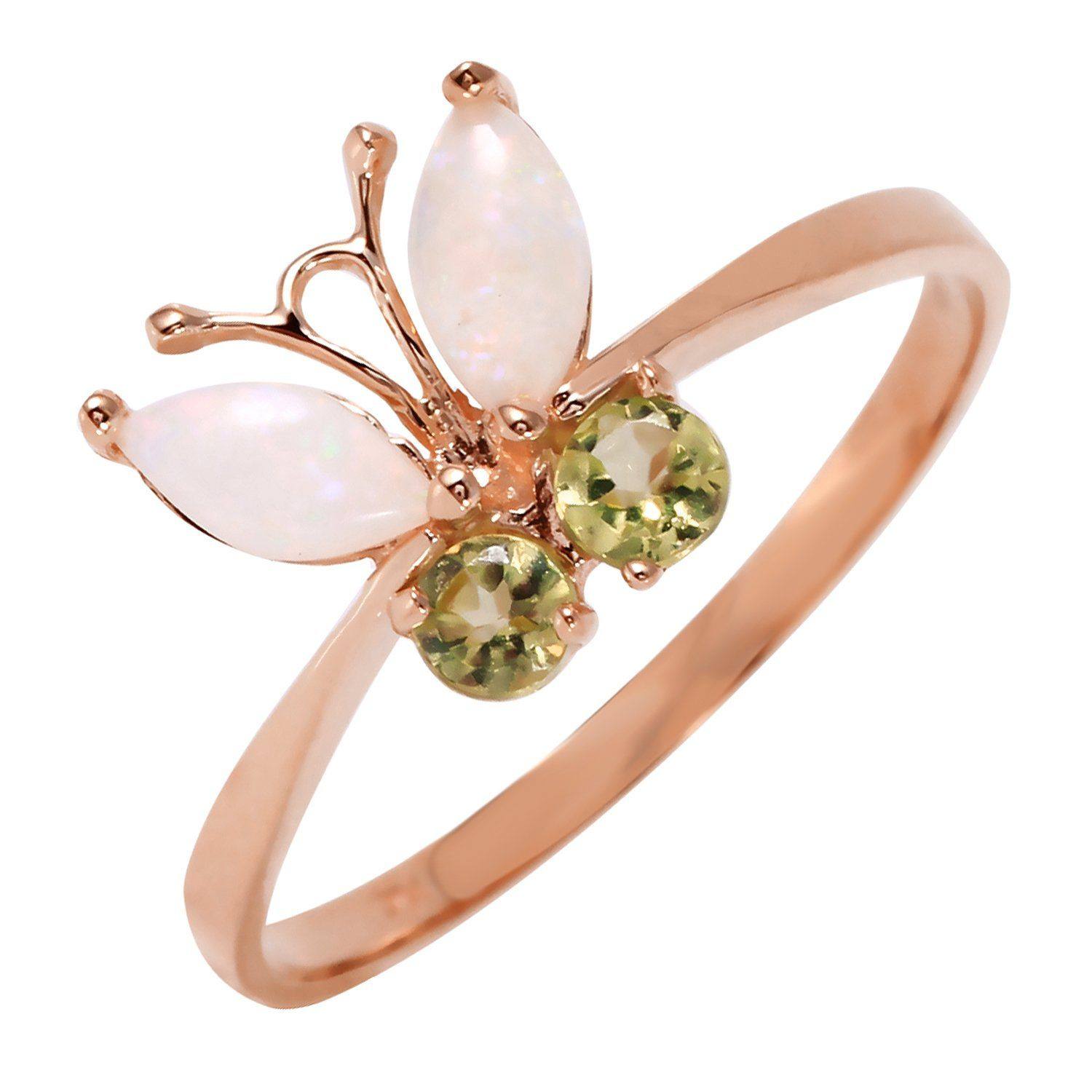 Ladies 14K Rose Gold Butterfly Ring with Opals & Peridots