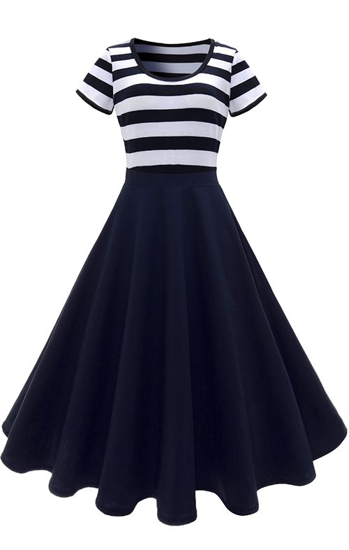 Scoop Neck Stripe Midi Vintage Dress | Semi formal dresses ...