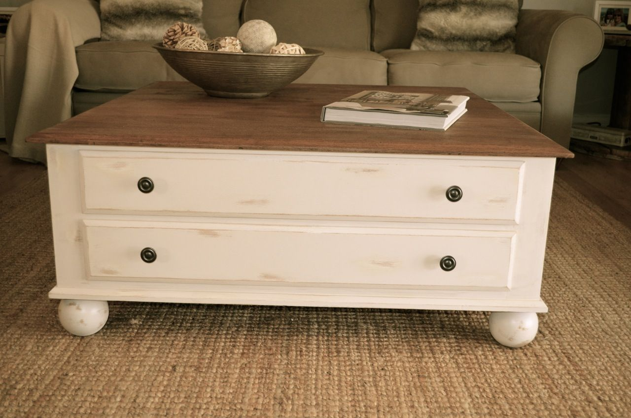Farmhouse Style Distressed Antique White Coffee Table By Ia Pastori Interior Design