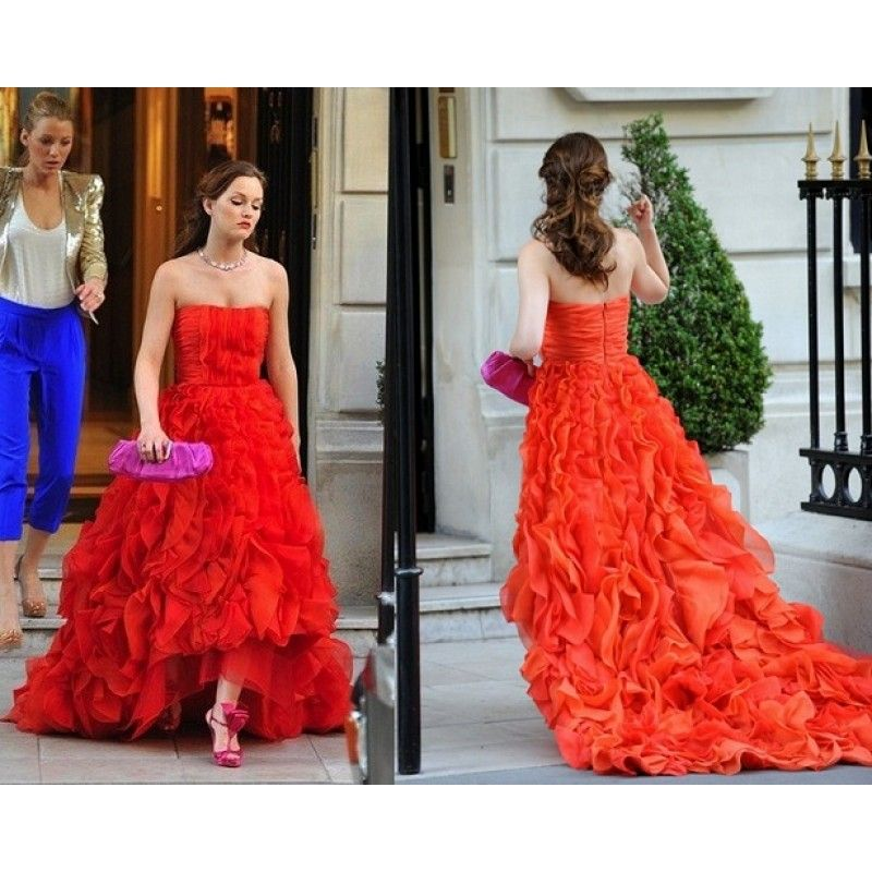 Leighton Meester (Blair) Red Strapless Ruffled Custom Prom Dress in ...